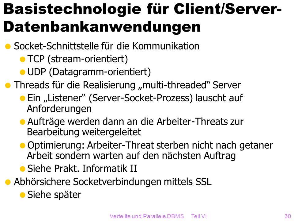Verteilte und Parallele DBMS Teil VI30 Basistechnologie für Client/Server- Datenbankanwendungen Socket-Schnittstelle für die Kommunikation TCP (stream