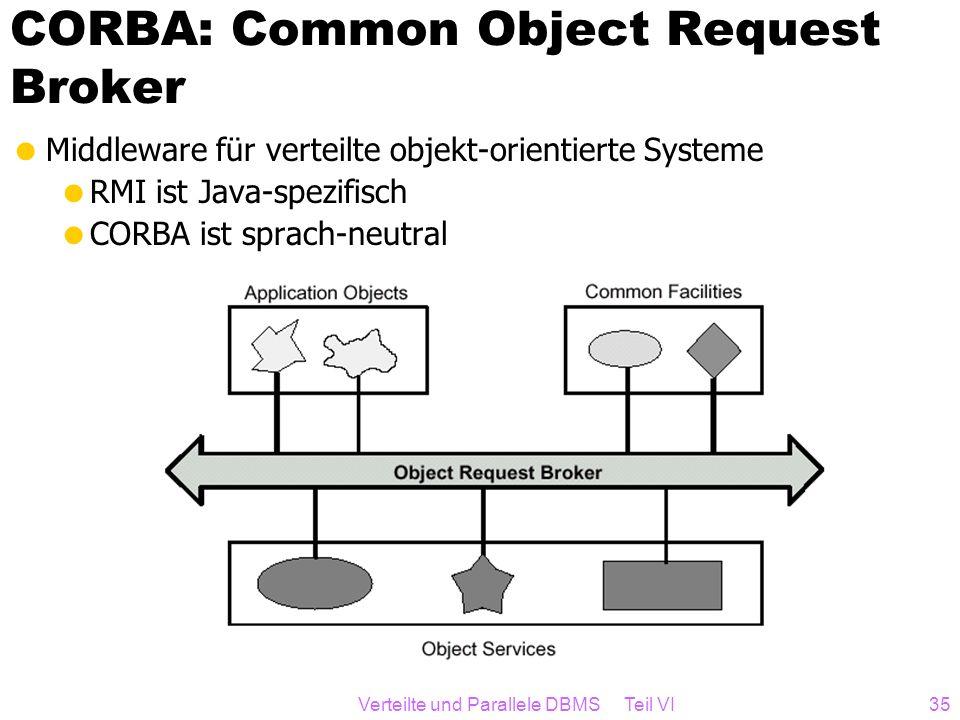 Verteilte und Parallele DBMS Teil VI35 CORBA: Common Object Request Broker Middleware für verteilte objekt-orientierte Systeme RMI ist Java-spezifisch