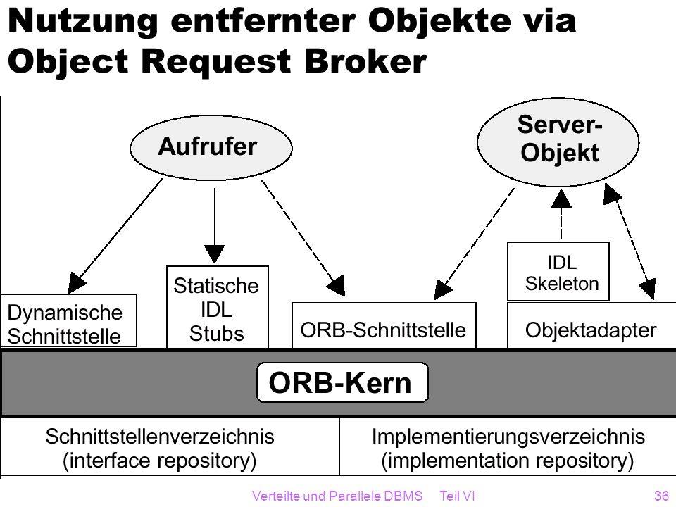 Verteilte und Parallele DBMS Teil VI36 Nutzung entfernter Objekte via Object Request Broker