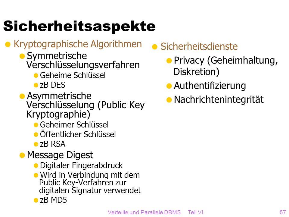 Verteilte und Parallele DBMS Teil VI57 Sicherheitsaspekte Kryptographische Algorithmen Symmetrische Verschlüsselungsverfahren Geheime Schlüssel zB DES