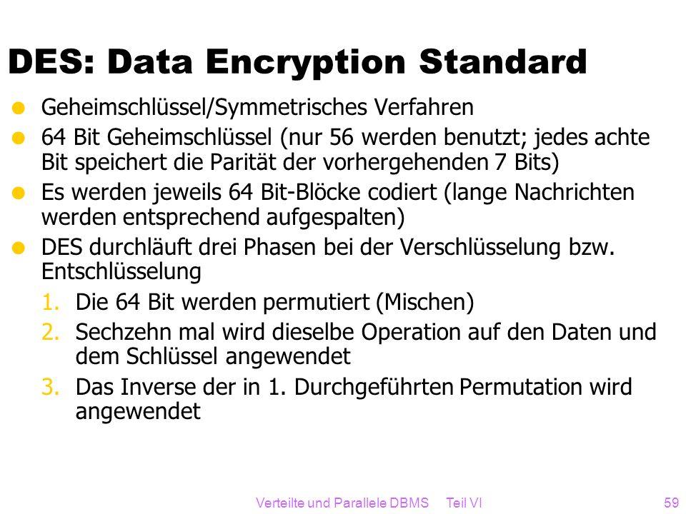Verteilte und Parallele DBMS Teil VI59 DES: Data Encryption Standard Geheimschlüssel/Symmetrisches Verfahren 64 Bit Geheimschlüssel (nur 56 werden ben