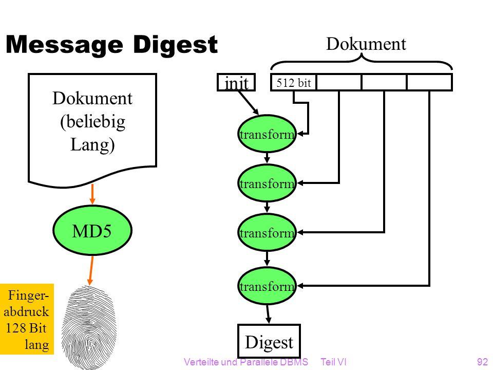 Verteilte und Parallele DBMS Teil VI92 Message Digest Dokument (beliebig Lang) MD5 Finger- abdruck 128 Bit lang 512 bit transform init Digest Dokument
