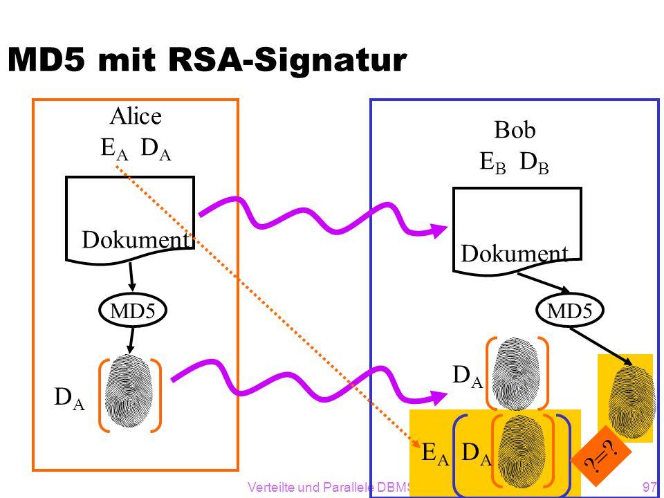 Verteilte und Parallele DBMS Teil VI97 MD5 mit RSA-Signatur Alice E A D A Dokument MD5 DADA Bob E B D B Dokument MD5 DADA E A D A ?=?