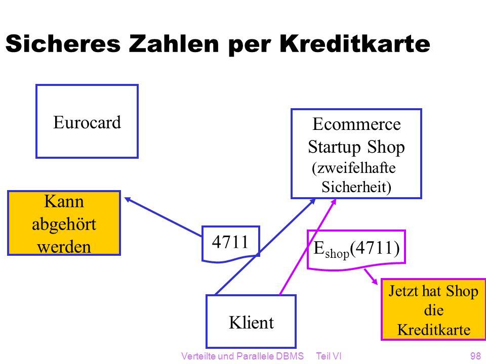 Verteilte und Parallele DBMS Teil VI98 Sicheres Zahlen per Kreditkarte Klient Ecommerce Startup Shop (zweifelhafte Sicherheit) Eurocard 4711 E shop (4