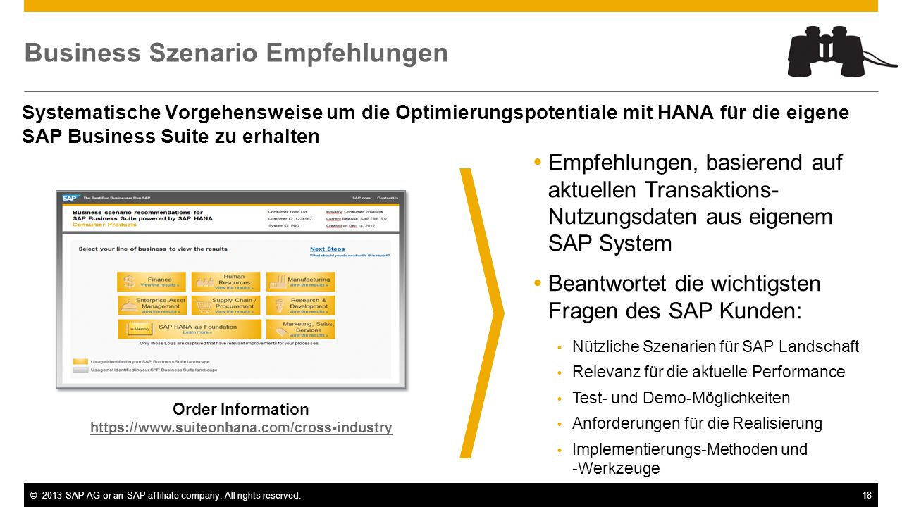 ©2013 SAP AG or an SAP affiliate company. All rights reserved.18 Business Szenario Empfehlungen Order Information https://www.suiteonhana.com/cross-in