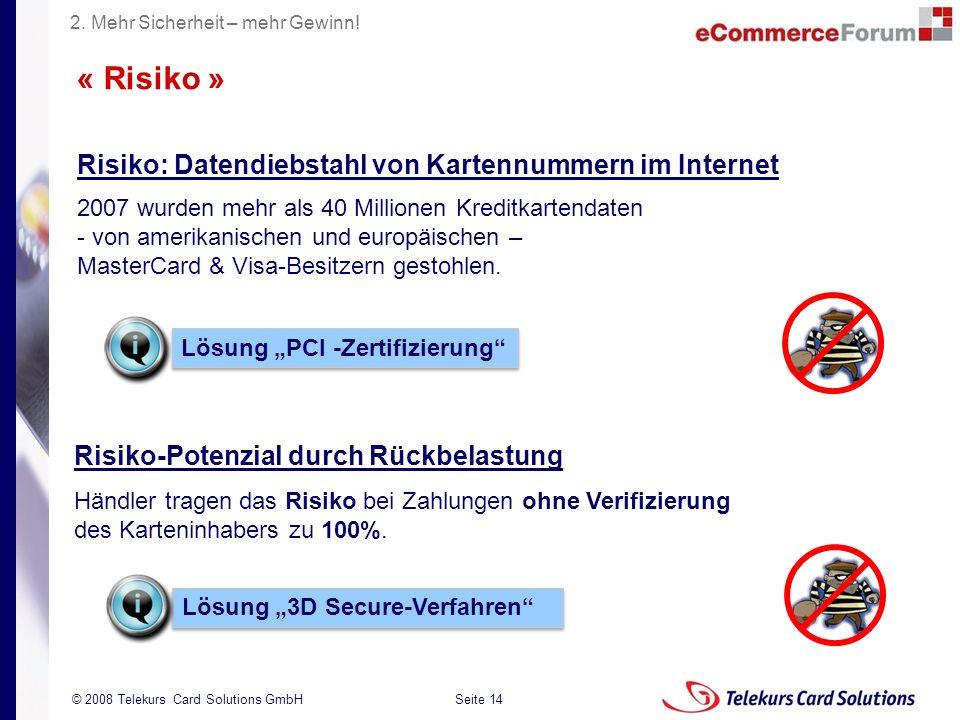Seite 14 204235204235 © 2008 Telekurs Card Solutions GmbH Risiko: Datendiebstahl von Kartennummern im Internet 2007 wurden mehr als 40 Millionen Kreditkartendaten - von amerikanischen und europäischen – MasterCard & Visa-Besitzern gestohlen.