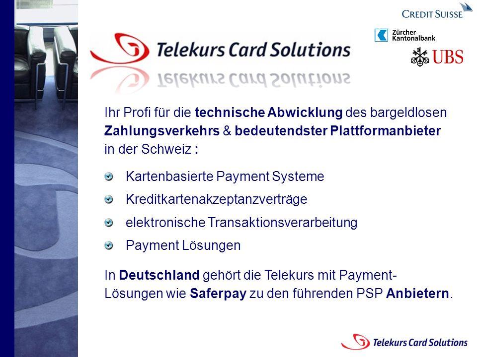 Seite 2 204235204235 © 2008 Telekurs Card Solutions GmbH Seite 2 Ihr Profi für die technische Abwicklung des bargeldlosen Zahlungsverkehrs & bedeutendster Plattformanbieter in der Schweiz : Kartenbasierte Payment Systeme Kreditkartenakzeptanzverträge elektronische Transaktionsverarbeitung Payment Lösungen In Deutschland gehört die Telekurs mit Payment- Lösungen wie Saferpay zu den führenden PSP Anbietern.