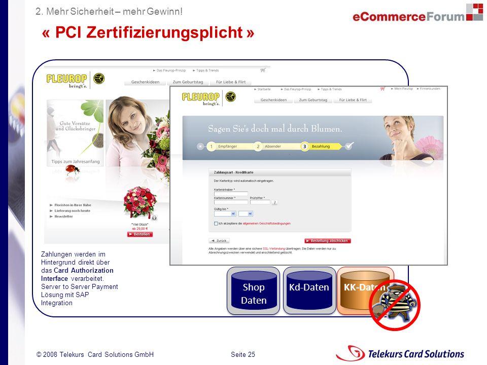 Seite 25 204235204235 © 2008 Telekurs Card Solutions GmbH KK-Daten Zahlungen werden im Hintergrund direkt über das Card Authorization Interface verarb