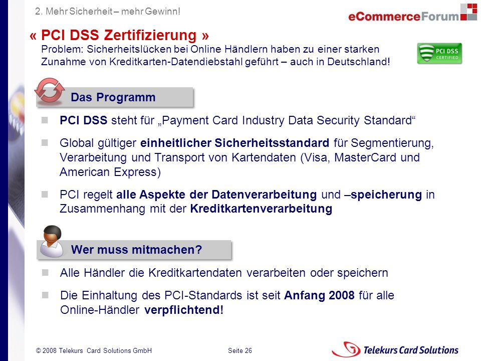 Seite 26 204235204235 © 2008 Telekurs Card Solutions GmbH « PCI DSS Zertifizierung » Problem: Sicherheitslücken bei Online Händlern haben zu einer starken Zunahme von Kreditkarten-Datendiebstahl geführt – auch in Deutschland.