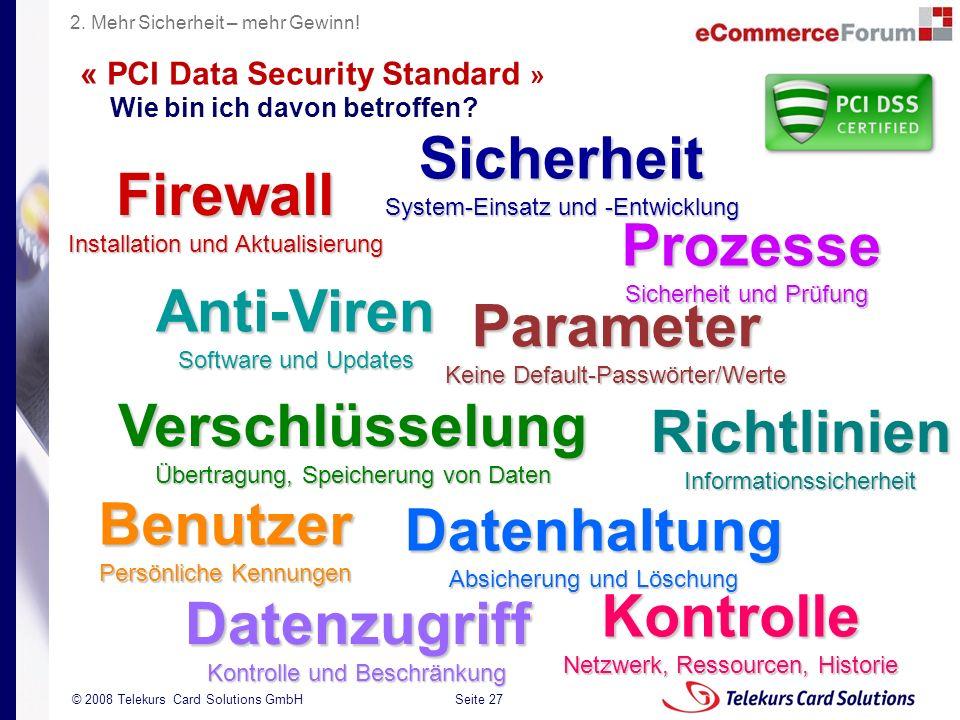 Seite 27 204235204235 © 2008 Telekurs Card Solutions GmbH « PCI Data Security Standard » Wie bin ich davon betroffen? Firewall Installation und Aktual