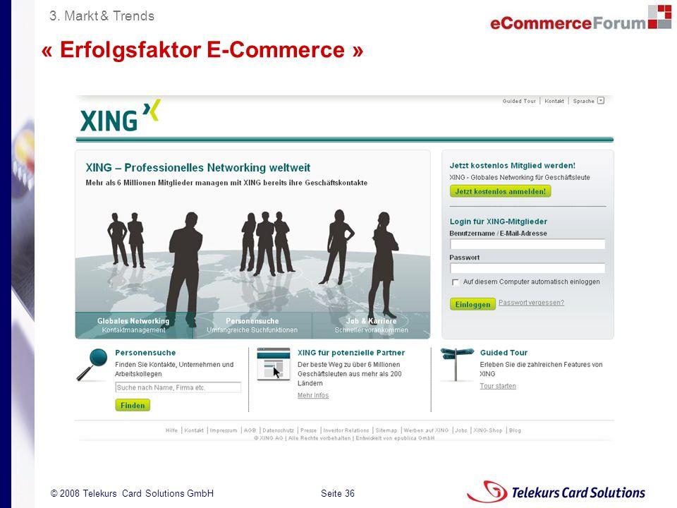 Seite 36 204235204235 © 2008 Telekurs Card Solutions GmbH « Erfolgsfaktor E-Commerce » 3. Markt & Trends