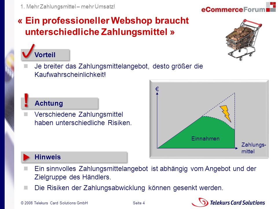 Seite 4 204235204235 © 2008 Telekurs Card Solutions GmbH « Ein professioneller Webshop braucht unterschiedliche Zahlungsmittel » Vorteil Je breiter da