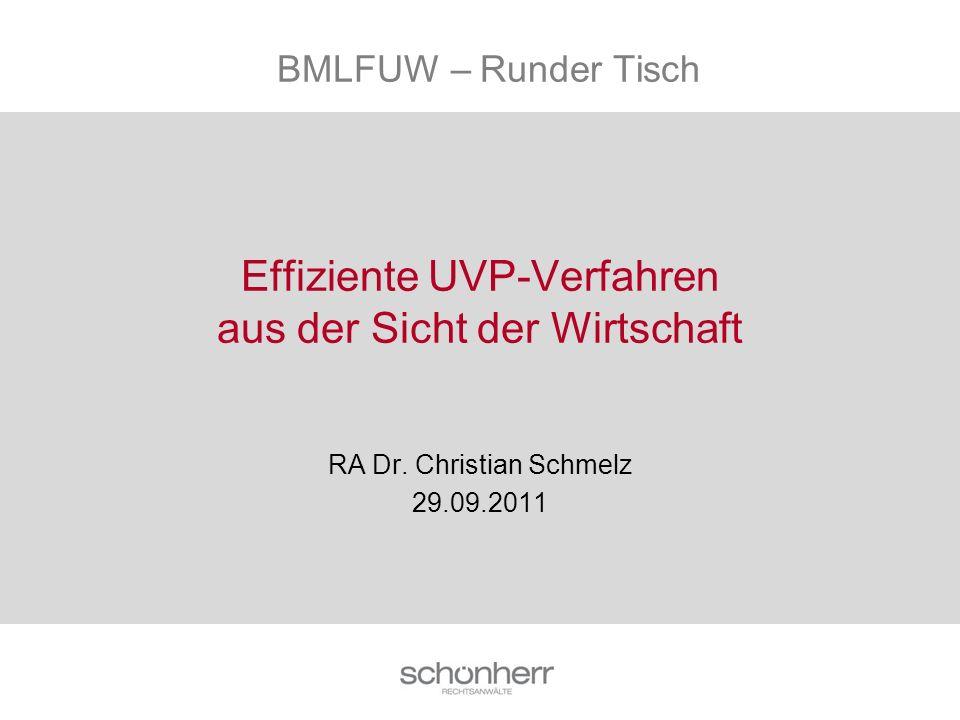 Effiziente UVP-Verfahren aus der Sicht der Wirtschaft RA Dr. Christian Schmelz 29.09.2011 BMLFUW – Runder Tisch