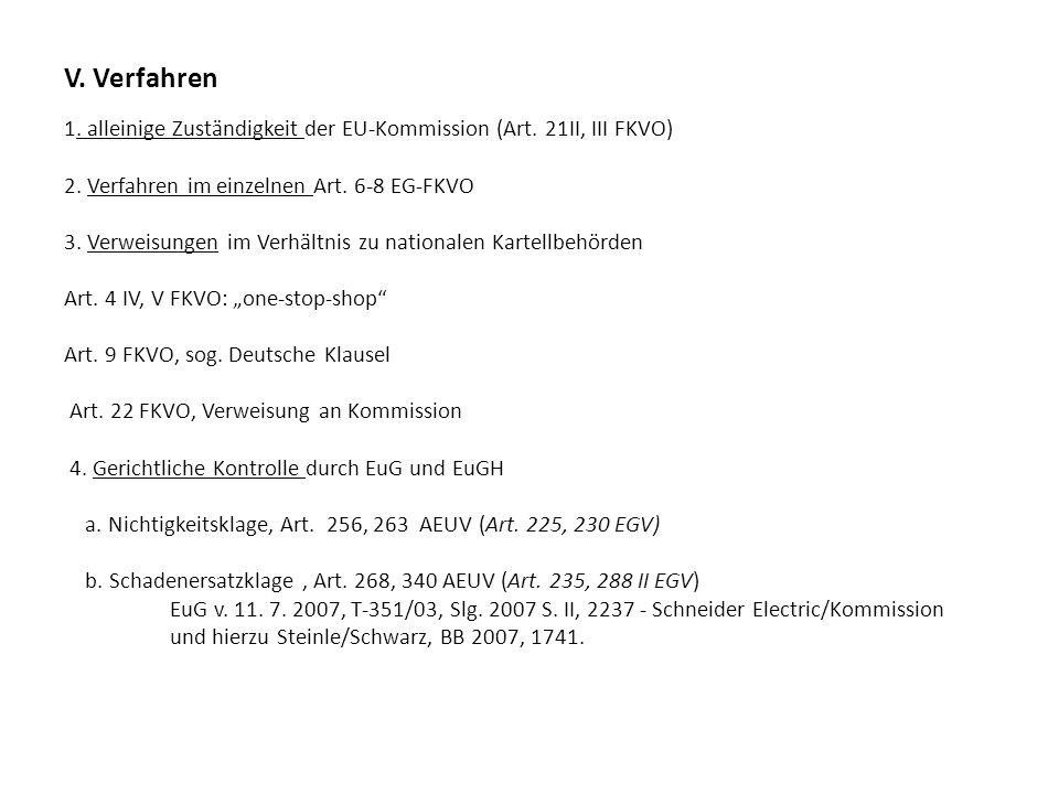V. Verfahren 1. alleinige Zuständigkeit der EU-Kommission (Art. 21II, III FKVO) 2. Verfahren im einzelnen Art. 6-8 EG-FKVO 3. Verweisungen im Verhältn