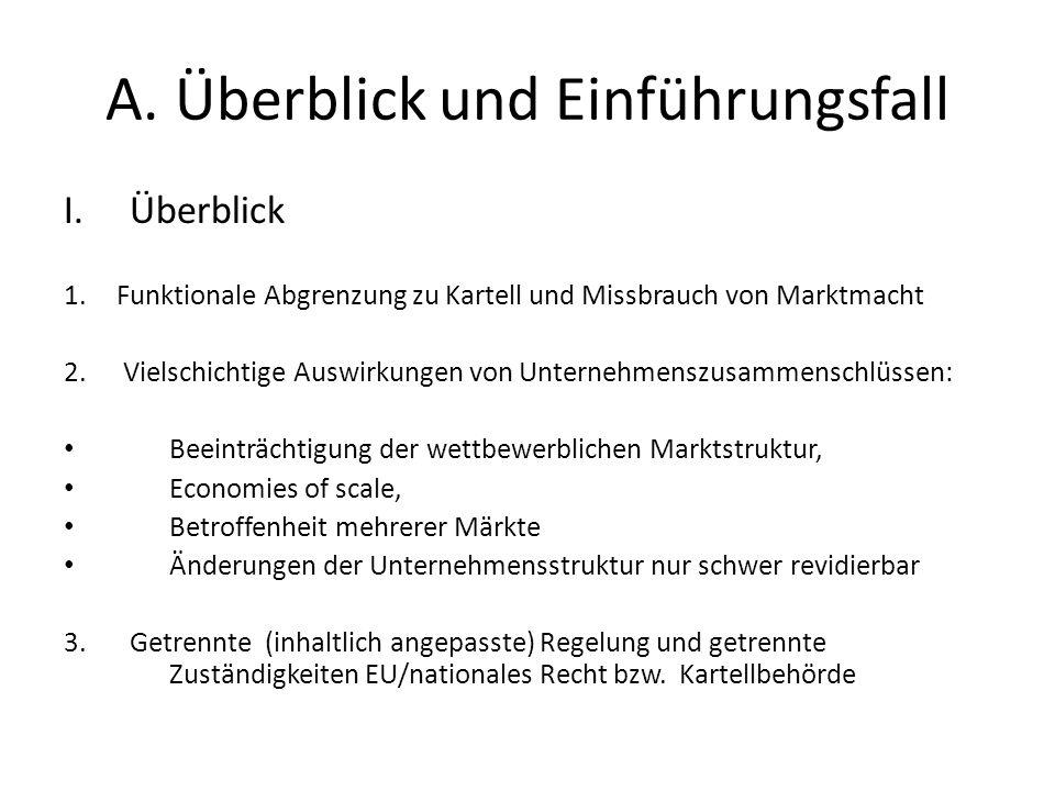 A. Überblick und Einführungsfall I.Überblick 1.Funktionale Abgrenzung zu Kartell und Missbrauch von Marktmacht 2. Vielschichtige Auswirkungen von Unte
