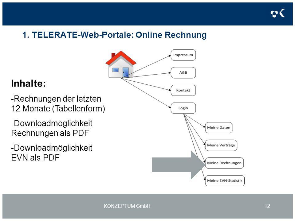 1. TELERATE-Web-Portale: Online Rechnung KONZEPTUM GmbH12 Inhalte: -Rechnungen der letzten 12 Monate (Tabellenform) -Downloadmöglichkeit Rechnungen al