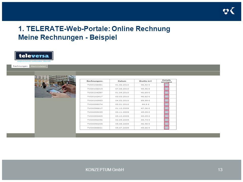 1. TELERATE-Web-Portale: Online Rechnung Meine Rechnungen - Beispiel KONZEPTUM GmbH13