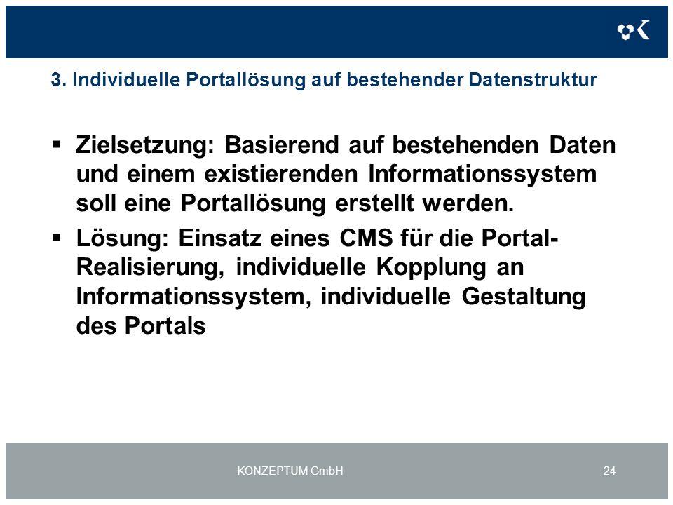 3. Individuelle Portallösung auf bestehender Datenstruktur Zielsetzung: Basierend auf bestehenden Daten und einem existierenden Informationssystem sol