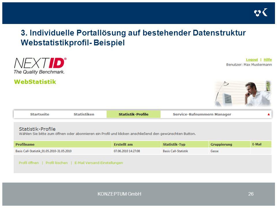 3. Individuelle Portallösung auf bestehender Datenstruktur Webstatistikprofil- Beispiel KONZEPTUM GmbH26