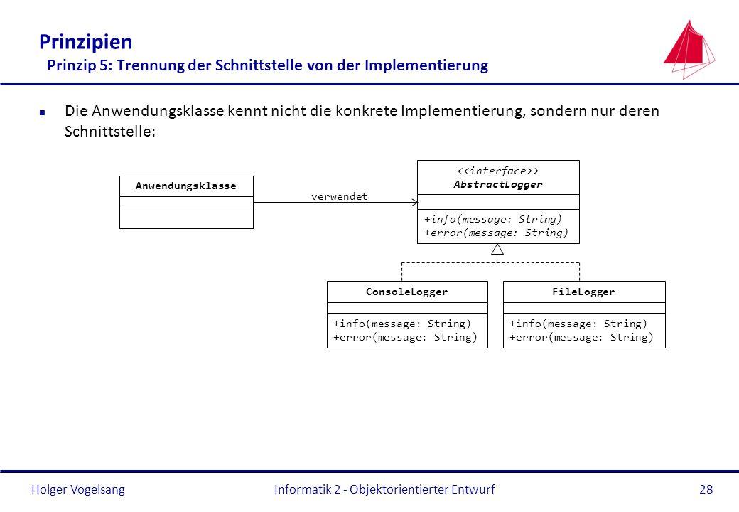 Holger Vogelsang Prinzipien Prinzip 5: Trennung der Schnittstelle von der Implementierung n Die Anwendungsklasse kennt nicht die konkrete Implementier