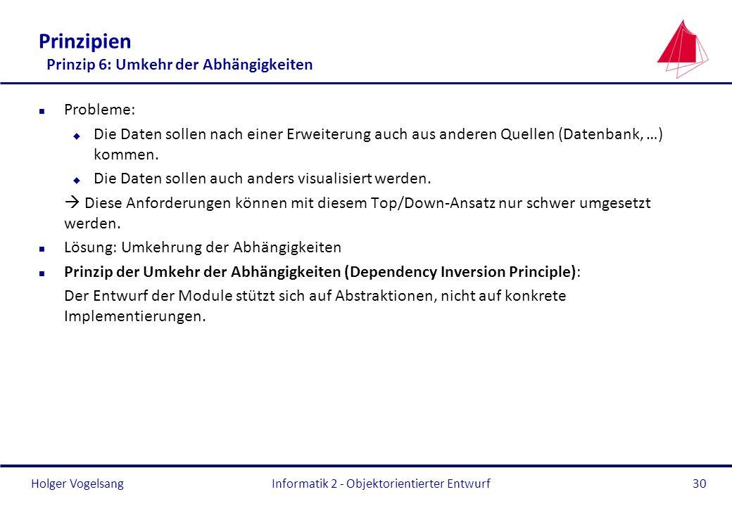 Holger Vogelsang Prinzipien Prinzip 6: Umkehr der Abhängigkeiten n Probleme: u Die Daten sollen nach einer Erweiterung auch aus anderen Quellen (Daten