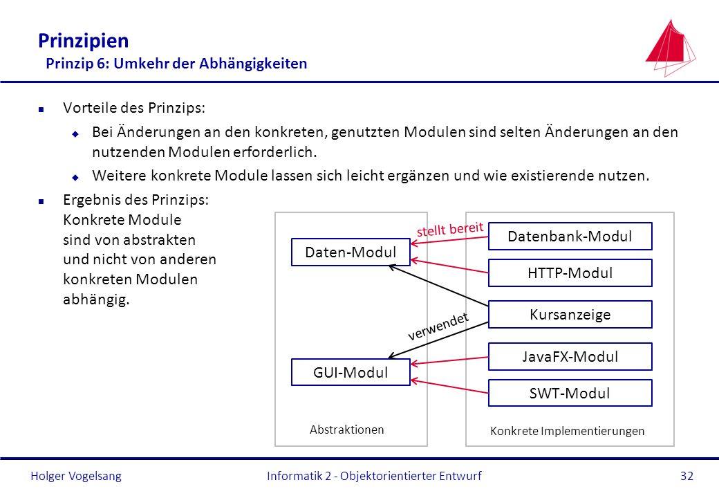 Holger Vogelsang Prinzipien Prinzip 6: Umkehr der Abhängigkeiten n Vorteile des Prinzips: u Bei Änderungen an den konkreten, genutzten Modulen sind se