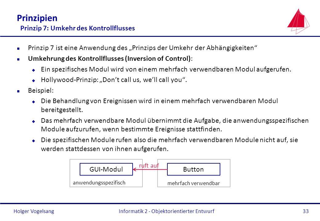 Holger Vogelsang Prinzipien Prinzip 7: Umkehr des Kontrollflusses n Prinzip 7 ist eine Anwendung des Prinzips der Umkehr der Abhängigkeiten n Umkehrun