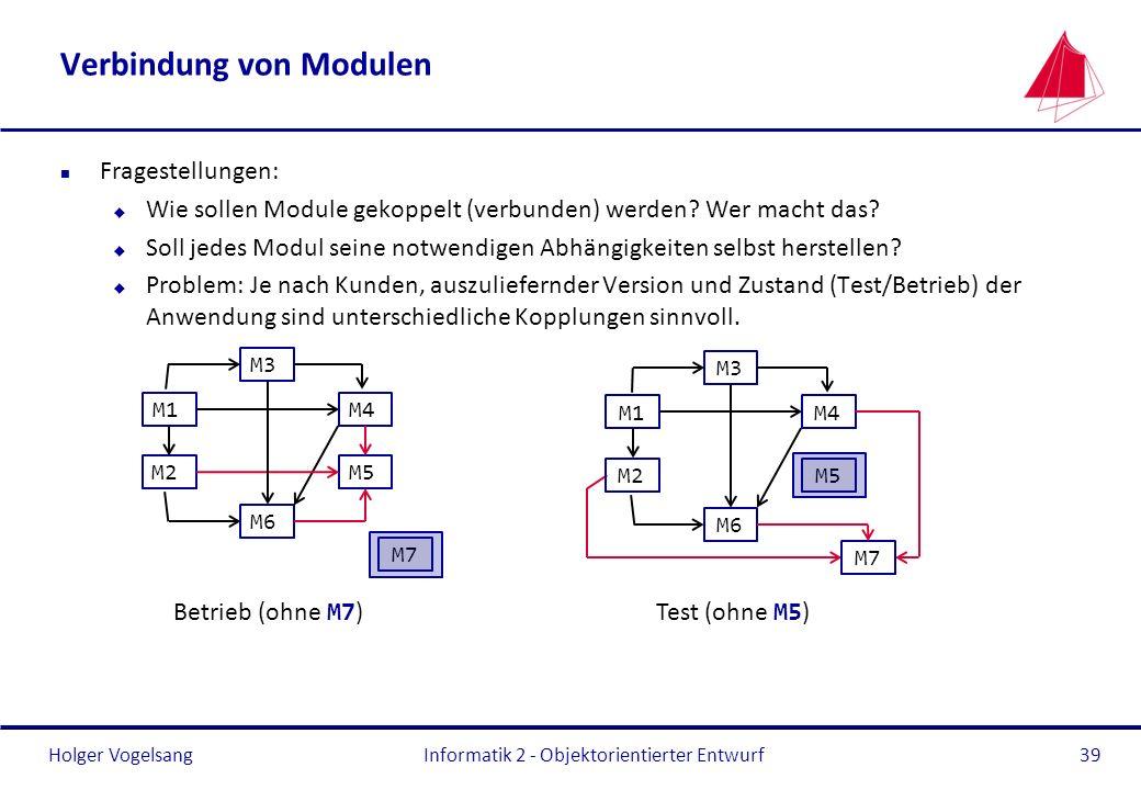 Holger Vogelsang Verbindung von Modulen n Fragestellungen: u Wie sollen Module gekoppelt (verbunden) werden? Wer macht das? u Soll jedes Modul seine n