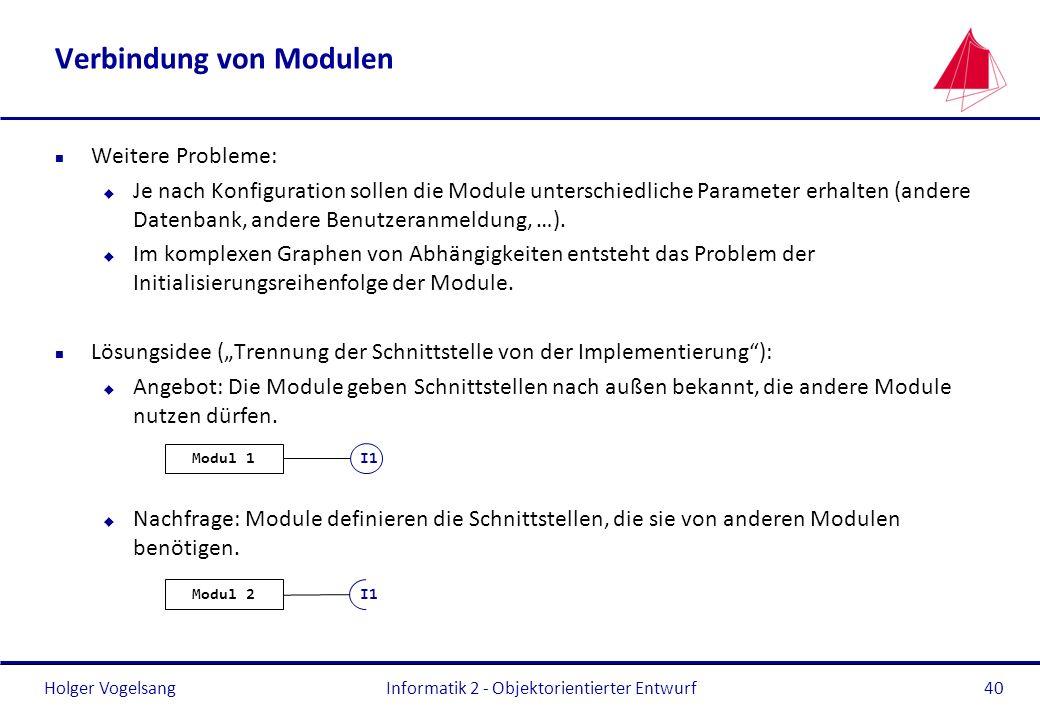 Holger Vogelsang Verbindung von Modulen n Weitere Probleme: u Je nach Konfiguration sollen die Module unterschiedliche Parameter erhalten (andere Date