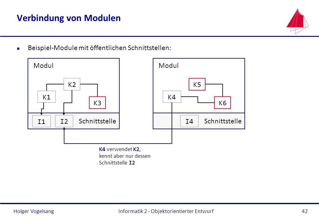 Holger Vogelsang Verbindung von Modulen n Beispiel-Module mit öffentlichen Schnittstellen: Informatik 2 - Objektorientierter Entwurf42 Modul Schnittst