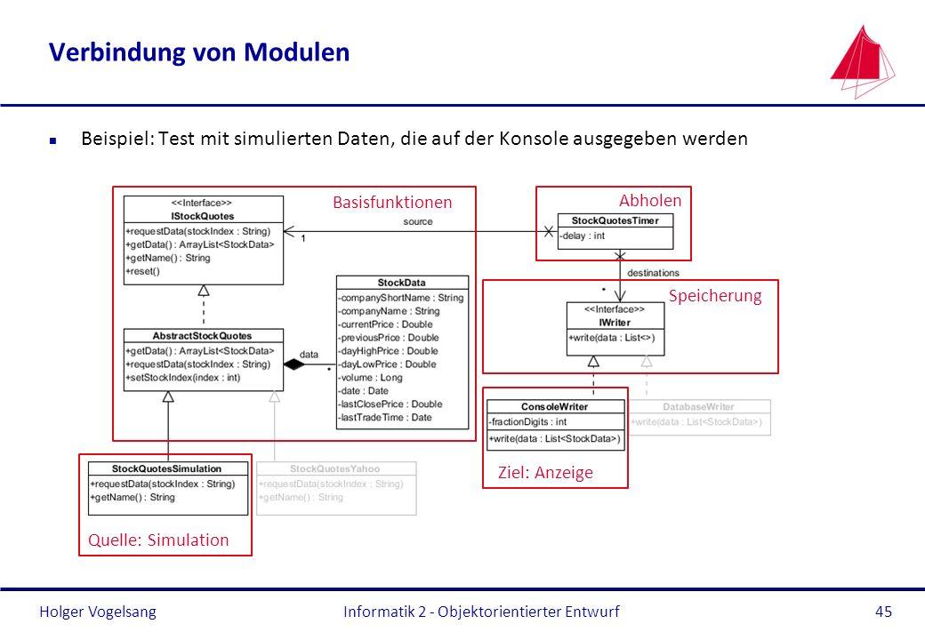 Holger Vogelsang Verbindung von Modulen n Beispiel: Test mit simulierten Daten, die auf der Konsole ausgegeben werden Informatik 2 - Objektorientierte