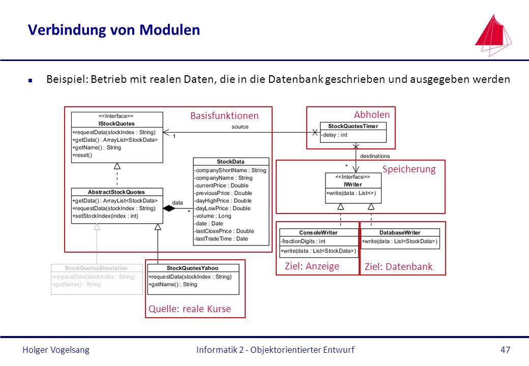 Holger Vogelsang Verbindung von Modulen n Beispiel: Betrieb mit realen Daten, die in die Datenbank geschrieben und ausgegeben werden Informatik 2 - Ob