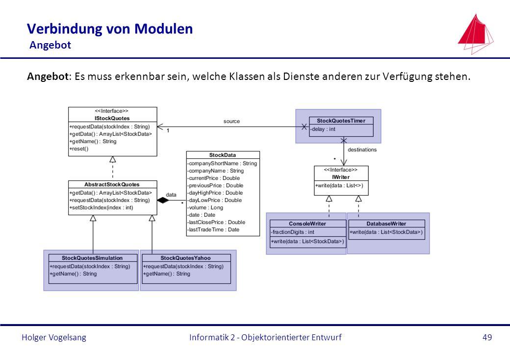 Holger Vogelsang Verbindung von Modulen Angebot Angebot: Es muss erkennbar sein, welche Klassen als Dienste anderen zur Verfügung stehen. Informatik 2