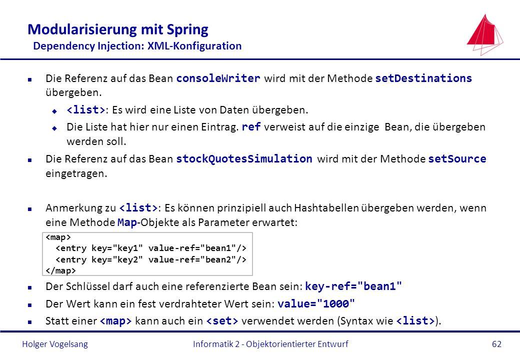 Holger Vogelsang Modularisierung mit Spring Dependency Injection: XML-Konfiguration Die Referenz auf das Bean consoleWriter wird mit der Methode setDe