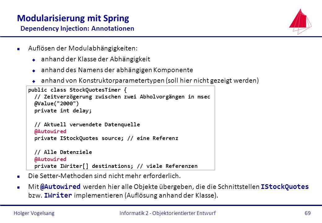 Holger Vogelsang Modularisierung mit Spring Dependency Injection: Annotationen n Auflösen der Modulabhängigkeiten: u anhand der Klasse der Abhängigkei