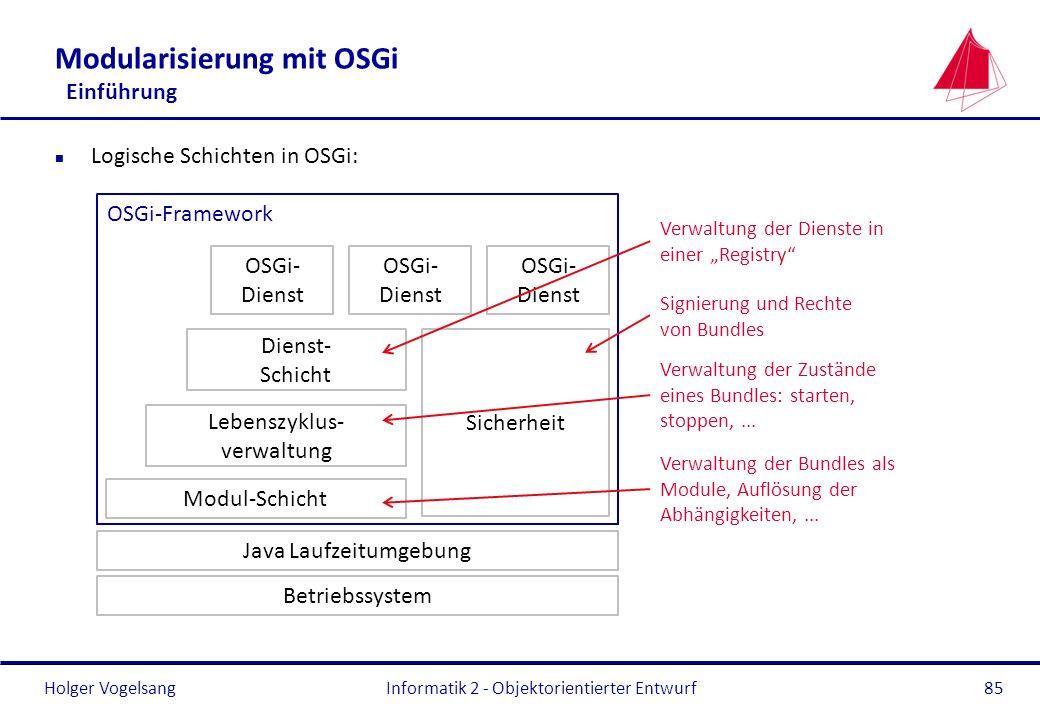 Holger Vogelsang Modularisierung mit OSGi Einführung n Logische Schichten in OSGi: Informatik 2 - Objektorientierter Entwurf85 Java Laufzeitumgebung M