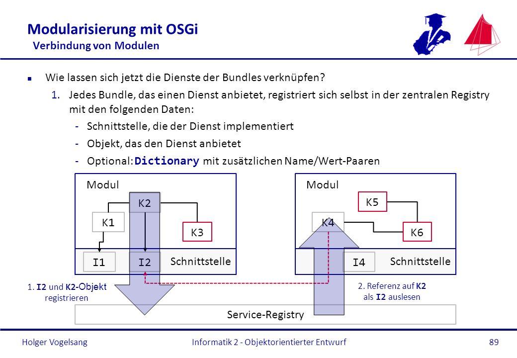 Holger Vogelsang Modularisierung mit OSGi Verbindung von Modulen n Wie lassen sich jetzt die Dienste der Bundles verknüpfen? 1.Jedes Bundle, das einen