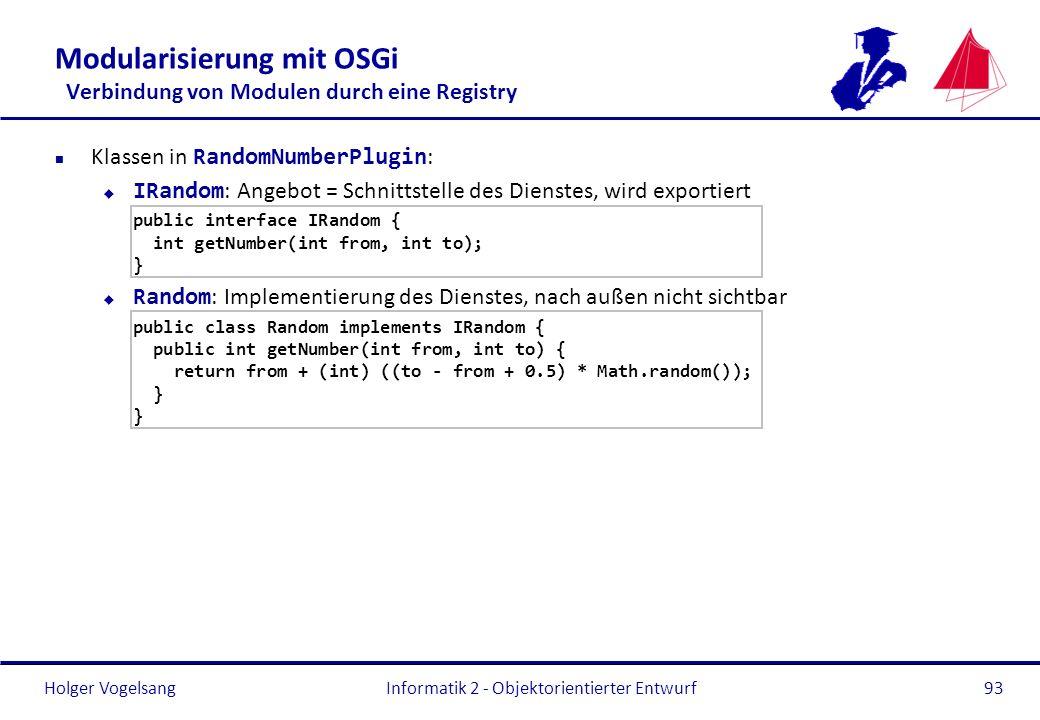 Holger Vogelsang Modularisierung mit OSGi Verbindung von Modulen durch eine Registry Klassen in RandomNumberPlugin : IRandom : Angebot = Schnittstelle