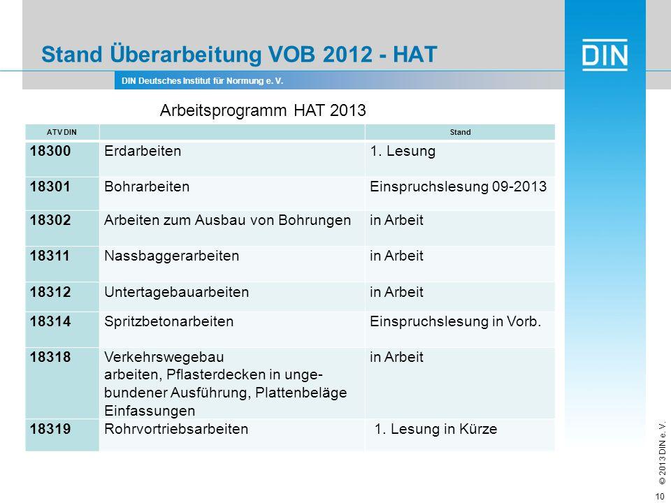 DIN Deutsches Institut für Normung e. V. © 2013 DIN e. V. Stand Überarbeitung VOB 2012 - HAT 10 Arbeitsprogramm HAT 2013 ATV DIN Stand 18300Erdarbeite