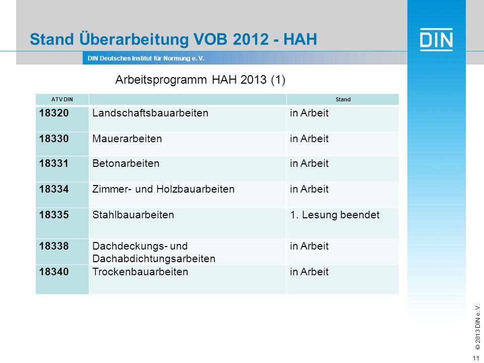 DIN Deutsches Institut für Normung e. V. © 2013 DIN e. V. Stand Überarbeitung VOB 2012 - HAH 11 ATV DIN Stand 18320Landschaftsbauarbeitenin Arbeit 183