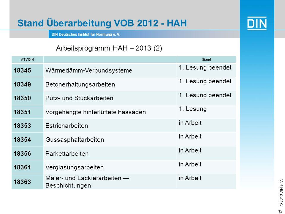 DIN Deutsches Institut für Normung e. V. © 2013 DIN e. V. Stand Überarbeitung VOB 2012 - HAH 12 Arbeitsprogramm HAH – 2013 (2) ATV DIN Stand 18345Wärm