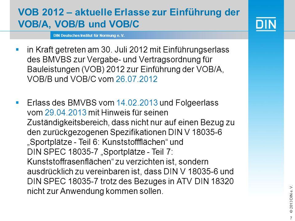 DIN Deutsches Institut für Normung e. V. © 2013 DIN e. V. VOB 2012 – aktuelle Erlasse zur Einführung der VOB/A, VOB/B und VOB/C 7 in Kraft getreten am