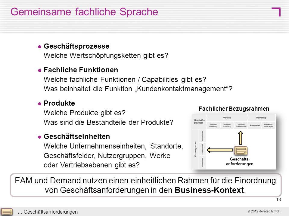 © 2012 iteratec GmbH 13 Gemeinsame fachliche Sprache Geschäftsprozesse Welche Wertschöpfungsketten gibt es? Fachliche Funktionen Welche fachliche Funk