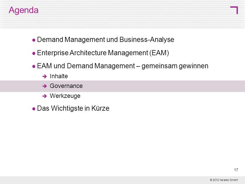 © 2012 iteratec GmbH 17 Agenda Demand Management und Business-Analyse Enterprise Architecture Management (EAM) EAM und Demand Management – gemeinsam g