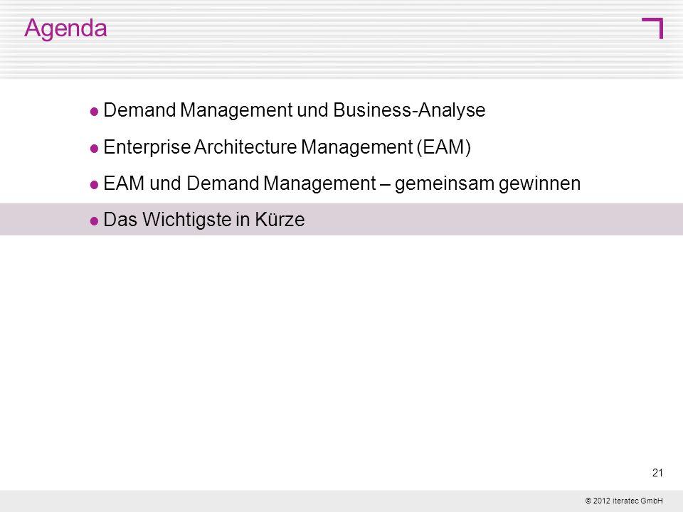 © 2012 iteratec GmbH 21 Agenda Demand Management und Business-Analyse Enterprise Architecture Management (EAM) EAM und Demand Management – gemeinsam g