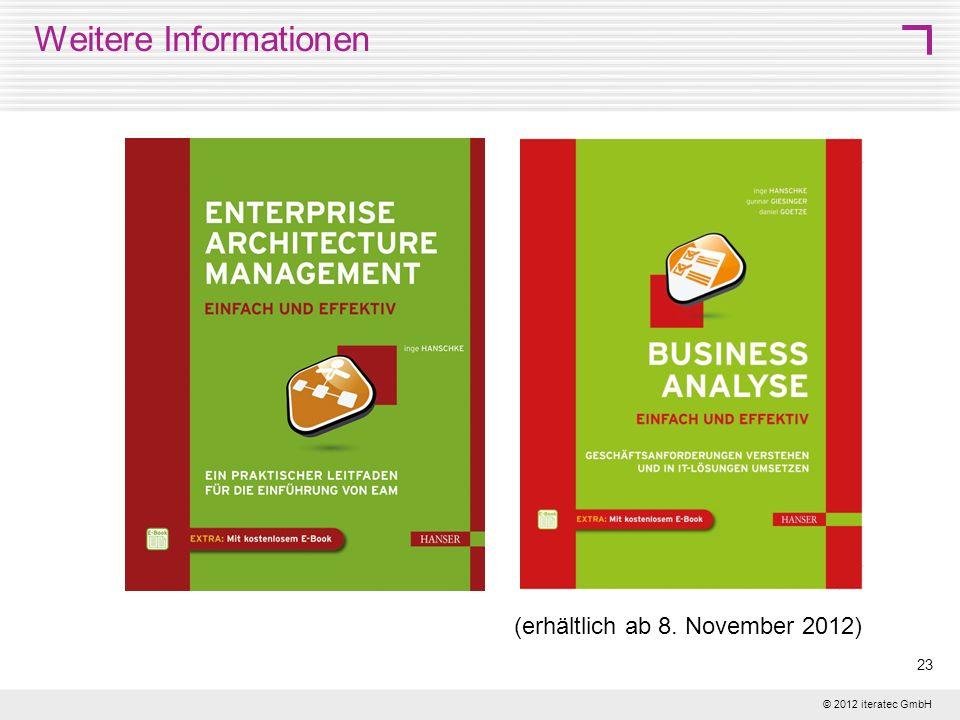 © 2012 iteratec GmbH 23 Weitere Informationen (erhältlich ab 8. November 2012)