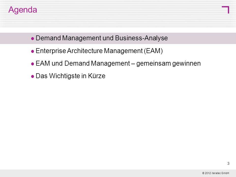 © 2012 iteratec GmbH 14 Einheitliche Sicht auf die IT-Unterstützung Ausgehend vom fachlichen Bezugsrahmen: Zuordnung von Geschäftsanforderungen zum richtigen Informationssystem EAM und Demand nutzen einen einheitlichen Rahmen für die Einordnung von Geschäftsanforderungen in den IT-Kontext.