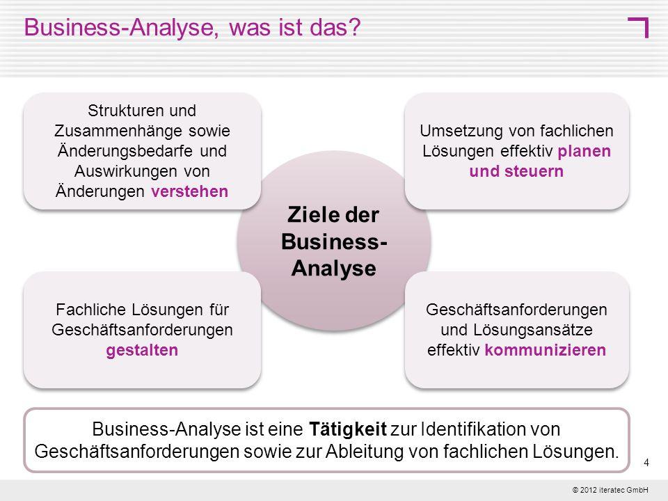 © 2012 iteratec GmbH 4 Business-Analyse, was ist das? Ziele der Business- Analyse Business-Analyse ist eine Tätigkeit zur Identifikation von Geschäfts