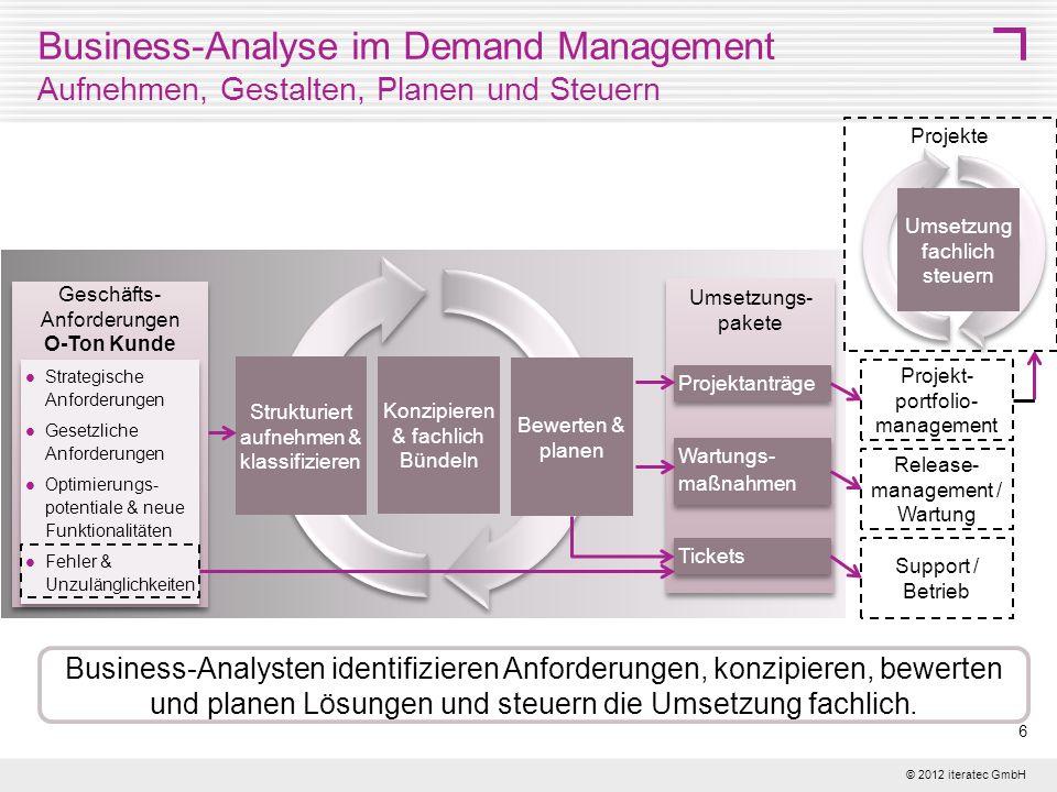 © 2012 iteratec GmbH 7 Detailierungsebenen für Geschäftsanforderungen Planungsebenen für die Business-Analyse Planungs- und Detaillierungsebenen Unternehmensplanung Die Planungsebene für die Business-Analyse muss im Unternehmen definiert werden und hat Einfluss auf die organisatorische Verankerung des Demand Managements und die Aufgaben der Business-Analysten.
