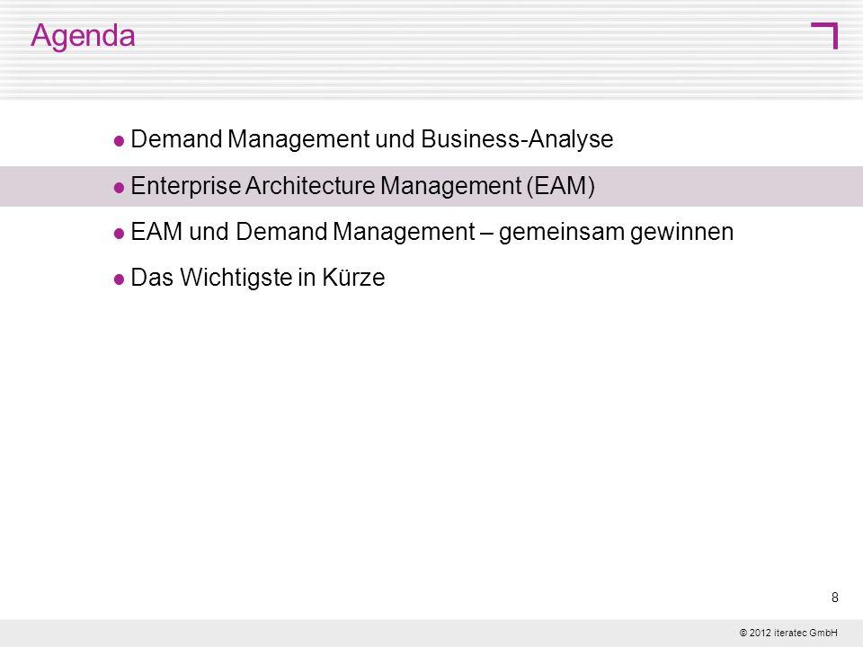 © 2012 iteratec GmbH 9 Enterprise Architecture Management Ganzheitliche Sicht auf Business und IT in ihrem Zusammenspiel Fachliche Einheiten IT-Unterstützung Bewertung der fachlichen und technischen Einheiten Zusammenspiel der Informationssysteme Technische Realisierung Umsetzungsplanung
